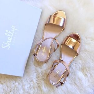 Shellys London Dacey Rose Gold Mirrored Sandals